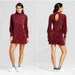 Open Back Mock Neck Chenille Red Sweater Tunic